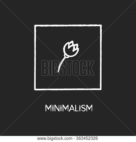 Minimalism Style Chalk White Icon On Black Background. Cultural Movement. Visual Art, Primitivism. F