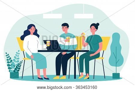 Happy Young People Drinking Coffee Together At Lunch Flat Vector Illustration. Meeting Of Company Em