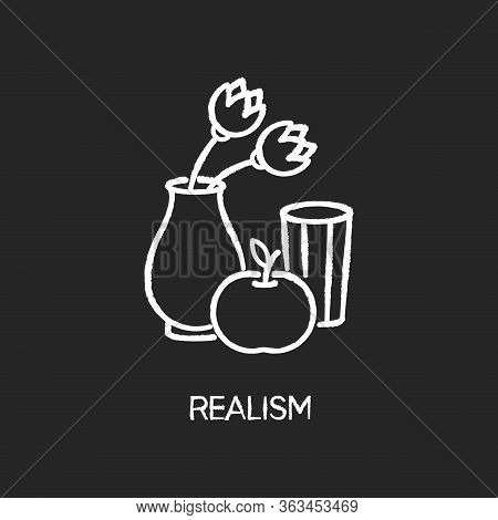 Realism Chalk White Icon On Black Background. Fine Art Movement. Naturalism Style. Vase With Flowers