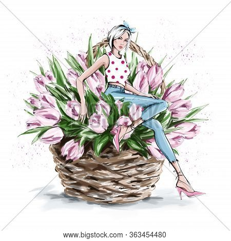 Hand Drawn Beautiful Young Woman Sitting In Flower Basket. Fashion Woman With Bow On Her Head. Styli