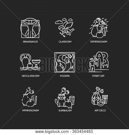 Art Movements Chalk White Icons Set On Black Background. Artworks In Surrealism, Neoclassicism Style