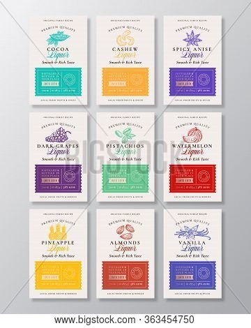 Family Recipe Fruit, Berries, Nuts And Liquor Acohol Labels Collection. Abstract Vector Packaging De