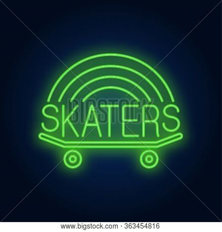 Skaters Neon Word On Skateboard Logo. Neon Sign, Night Bright Advertisement, Colorful Signboard, Lig
