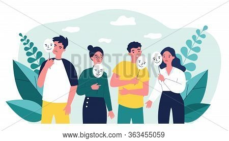 Depressed Guy And Girls Holding Positive Masks On Sticks. Sad People Covering Unhappy Faces. Vector