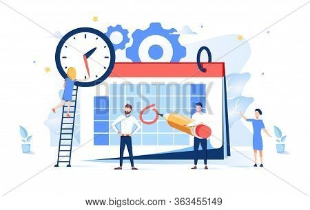 Vector Illustration. Little People Characters Make An Online Schedule In The Tablet. Design Business