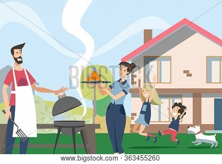Family Enjoying Barbecue In Backyard. Couple Of Parent Cooking Bbq Food, While Kids And Dog Having F