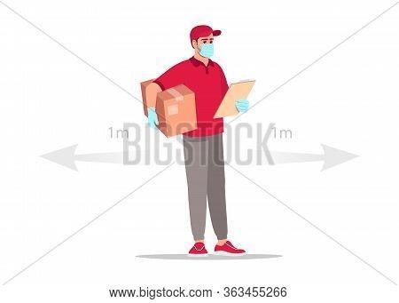 Order Delivery On Quarantine Semi Flat Rgb Color Vector Illustration. Deliveryman In Mask On Safe Di