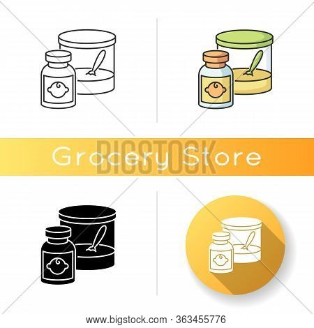 Baby Food Icon. Instant Formula For Infants. Healthcare For Newborn Kids. Feeding Item In Jar For To