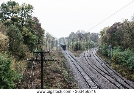 Train With Freight Wagons On The Railway In The Forest