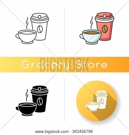 Tea And Coffee Icon. Coffee In Disposable Cup For Takeaway. Aromatic Black Tea In Mug. Cappuccino In