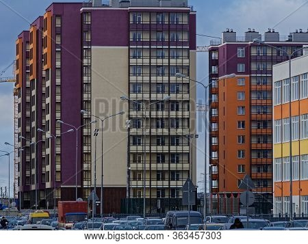 New Buildings In Saint Petersburg. Identical Apartments In Monotonous Houses Boxes.