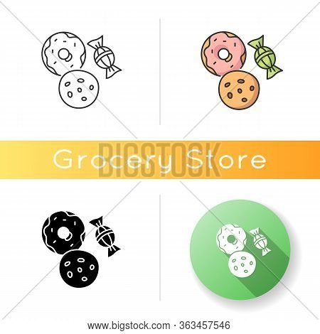 Cookie And Candy Icon. Sweets Products. Donut With Icing. Bakery Goods. Biscuit With Chocolate Chips