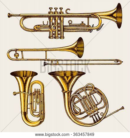 Jazz Classical Wind Instruments Set. Musical Trombone Trumpet Flute French Horn Saxophone. Hand Draw