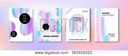 Holographic Gradient Vector Background. Rainbow Magazine Print Template. Fluorescent Gradient Overla