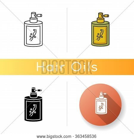 Liquid Silicon In Bottle Icon. Conditioner In Jar Container With Sprayer. Chemical Cosmetic Product