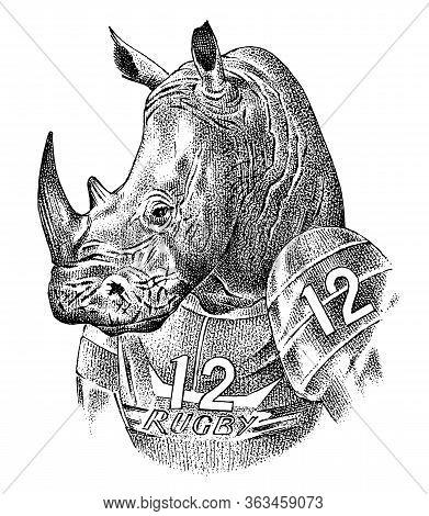 Rhino Badge, Retro Rhinoceros. Rugby Sport. American Football Player. Fashion Animal Character Sketc