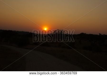 Colorful Sunset Over The Steppe In Africa