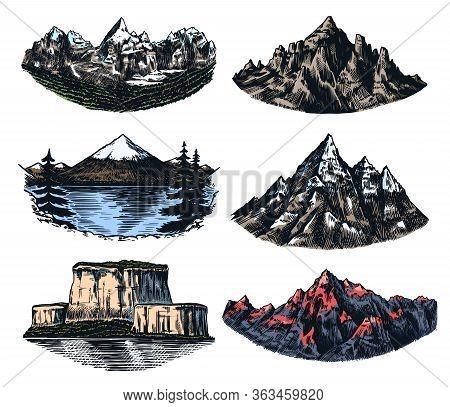 Set Of Mountains Peaks, Vintage Rock, Old Highlands Range. Hand Drawn Vector Outdoor Sketch In Engra