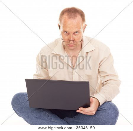 Man working over the internet at home poster