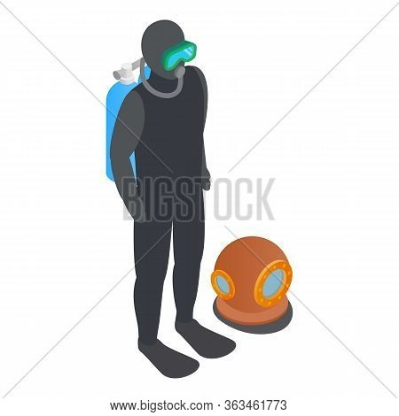 Scuba Diver Icon. Isometric Illustration Of Scuba Diver Vector Icon For Web