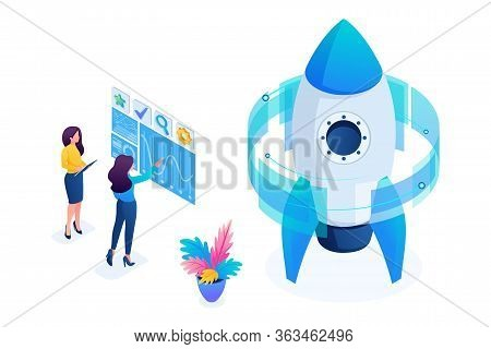 Isometric Start Up Of A Business Project, A Business Woman Working On A Virtual Screen. Concept For