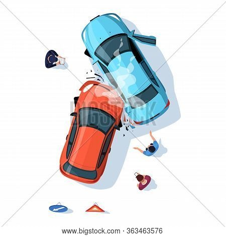 Accident Regulation On Road Semi Flat Rgb Color Vector Illustration. Smashed Cars On Highway. Police