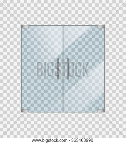 Glass Door Mockup On Transparent Background. Entrance Front Door For Office Or Shop. Glossy Window W