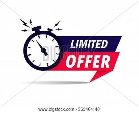 Limited Offer Icon With Time Countdown. Super Promo Label With Alarm Clock And Word. Last Offer Bann