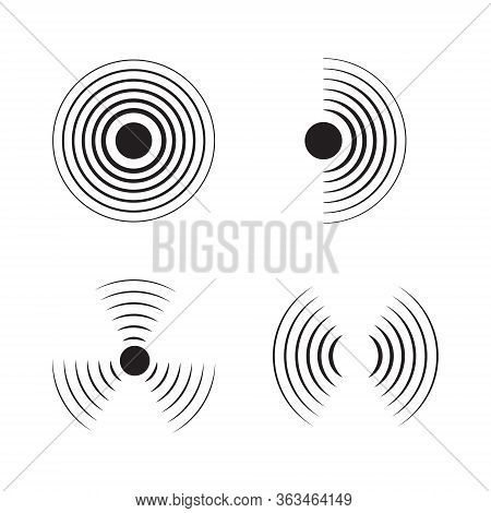 Sonar Signal Wave Vector Icon. Round Pulse, Sonic Frequency. Graphic Energy, Radial Pulse Sign On Is