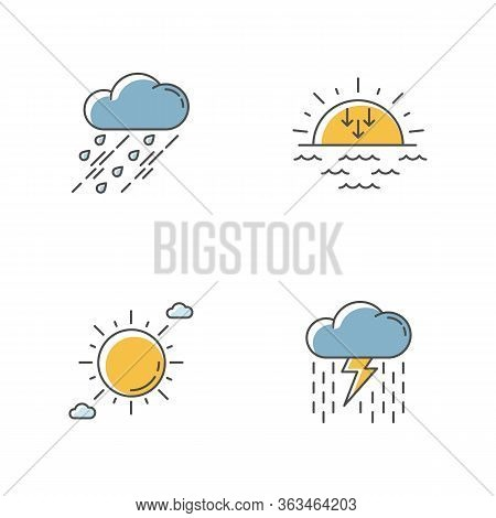 Daytime And Nighttime Forecast Rgb Color Icons Set. Weather Prediction Science, Meteorology. Sky Cla