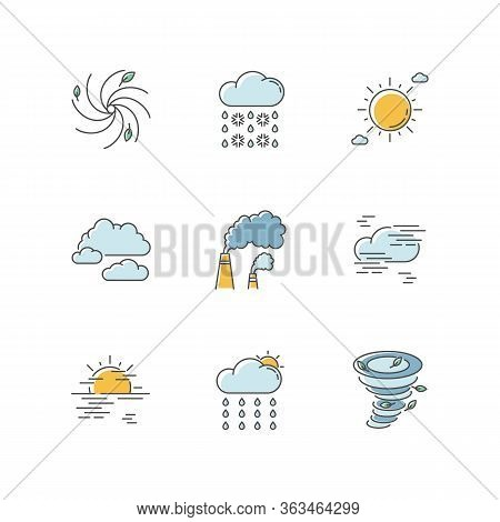 Meteorology Rgb Color Icons Set. Weather Forecasting Science, Environment Condition Prediction. Humi