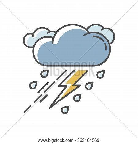Thunderstorm Rgb Color Icon. Bad Weather, Meteo Forecast. Strong Atmospheric Precipitation, Rainstor