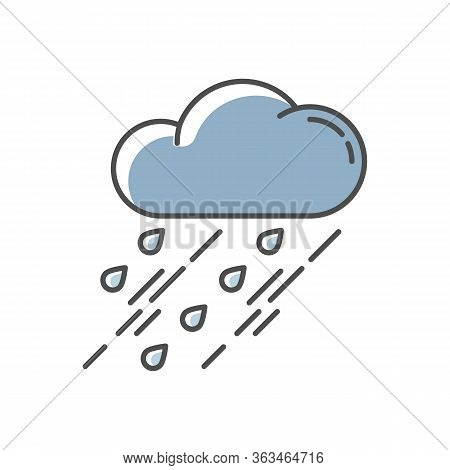 Showers Blue Rgb Color Icon. Rainy Season, Weather Forecasting, Meteorology. Strong Atmospheric Prec