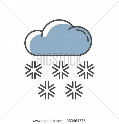 Snow Blue Rgb Color Icon. Meteorological Forecast, Wintertime Weather Forecast. Seasonal Atmospheric