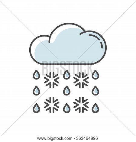 Heavy Snow, Sleet Blue Rgb Color Icon. Winter Weather Forecast, Meteorology. Atmospheric Precipitati