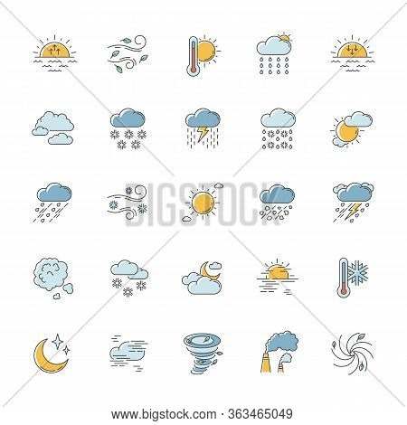 Weather Rgb Color Icons Set. Meteorology. Sky Condition Prediction. Temperature, Wind And Atmospheri