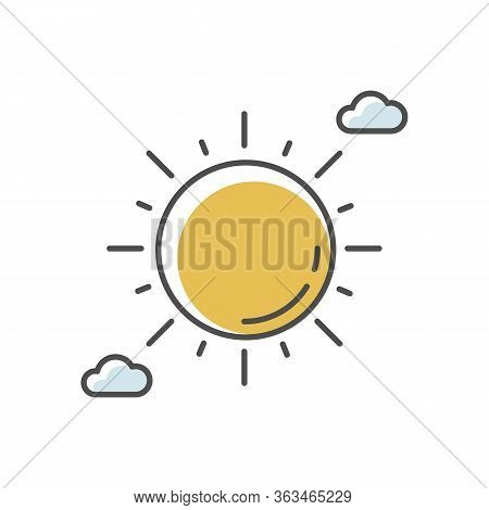 Clear Sunny Sky Yellow Rgb Color Icon. Partly Cloudy Meteo Forecast, Summertime Weather, Meteorology