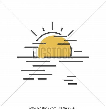 Sea Haze Yellow Rgb Color Icon. Morning Fog, Meteorological Forecast, Misty Weather. Natural Phenome