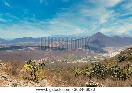 Desert Scenic Mountains In Mexico Valley , Blue Sky