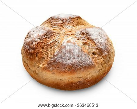 Homebaked Bread. Peasant Bread Isolated On A White Background. Homemade Baking.