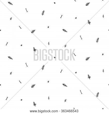 Hand Drawn Seamless Pattern With Dinosaur Bones, Eggs And Horsetails. Black And White Dino Vector Ba