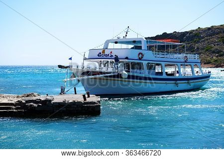 Spinalonga, Greece - May 14: The Motor Yachts With Tourists Are Near Spinalonga Island On May 14, 20