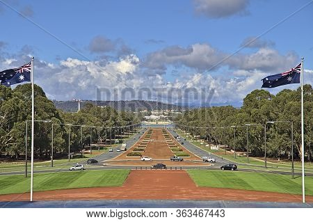 Canberra Anzac Parade From The War Memorial During Day