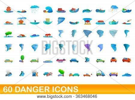 60 Danger Icons Set. Cartoon Illustration Of 60 Danger Icons Vector Set Isolated On White Background