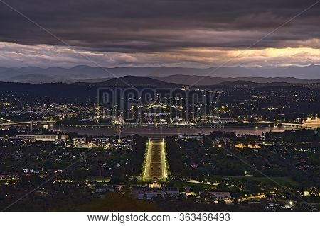 Canberra At Night From Mount Ainslie Lookout And With The Anzac Parade In Focus