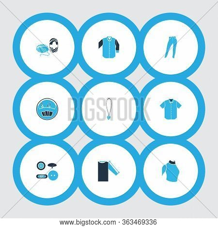 Fashionable Icons Colored Set With Sleeve Length, Mid Sleeve Shirt, High Waist Jeans And Other High