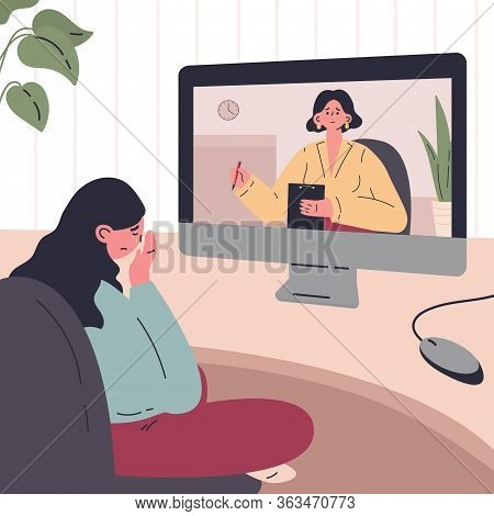 Young Woman In A Session With A Psychologist Online At Home.woman Crying. Psychotherapy Practice, Ps