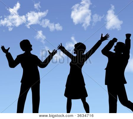 Business People Silhouettes Celebrate A Win Under Blue Sky