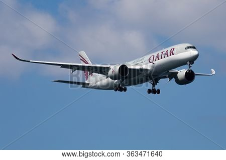 Istanbul / Turkey - March 30, 2019: Qatar Airways Airbus A350-900 A7-ali Passenger Plane Arrival And
