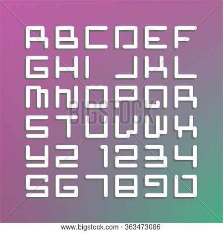 Modern Astro Font - Latin Alphabet Letters And Numbers. Vibrant Gradient Background. Vector Illustra